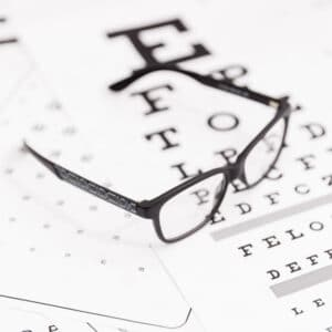 Locations - glasses on an eye test charg