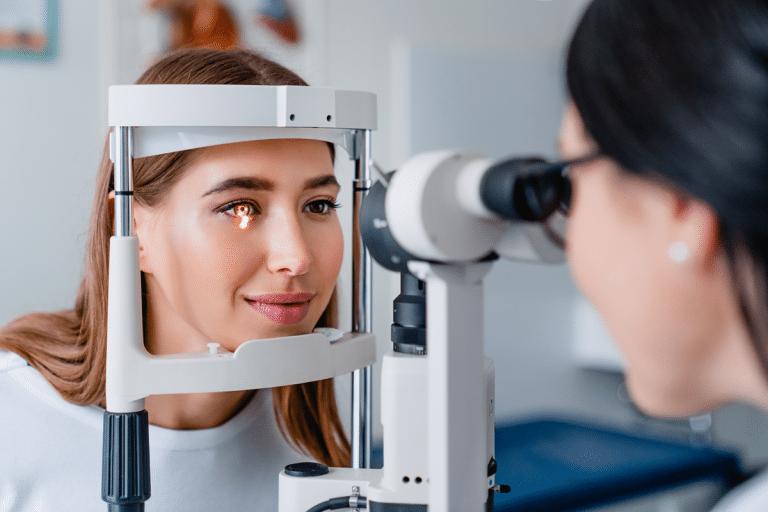 Eye health conditions - lady having an eye test