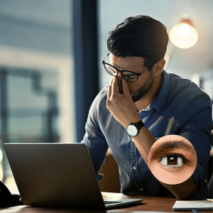VDU Assessment Corporate Eye Tests - man sitting at computer rubbing his eyes