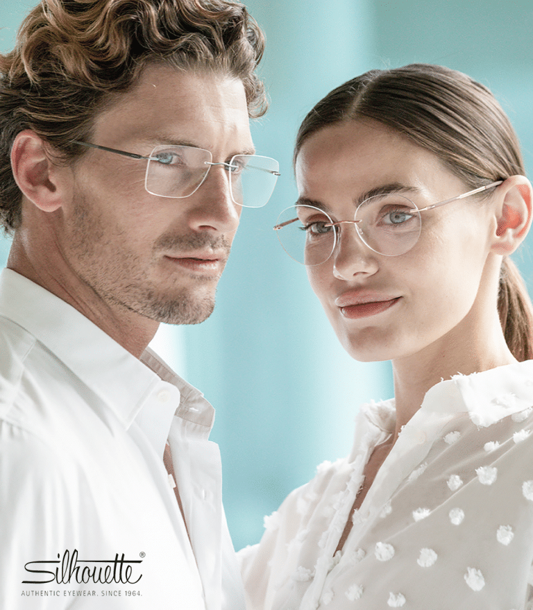 Haverhill opticians - man and woman both wearing white and delicate Silhouette glasses