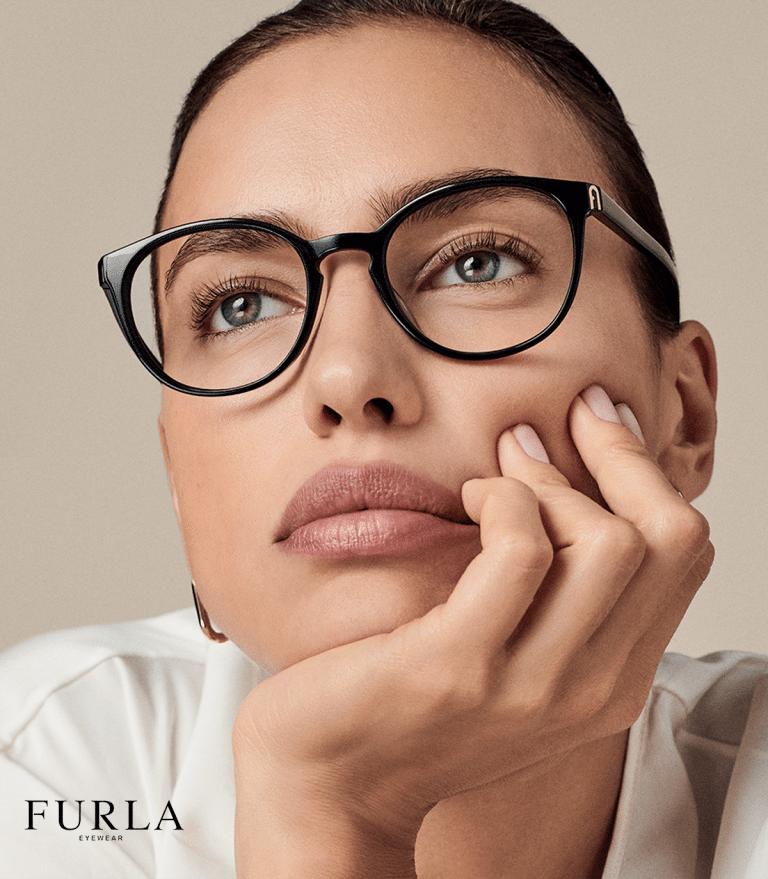 South Woodham Ferrers opticians - glamorous woman wearing dark bold Furla brand glasses