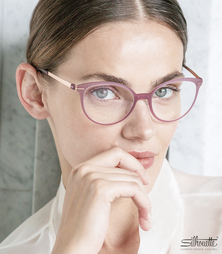 Sudbury optician - woman with hair tied back wearing pretty glasses