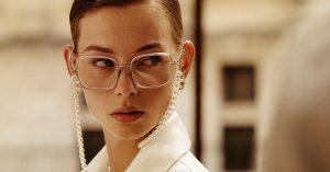 Woman wearing Chanel glasses